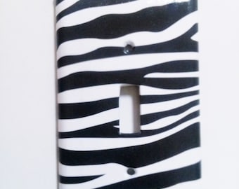 Zebra Print Light Switch Cover, Choose Size, Zebra nursery decor Zebra wall plate animal print light switch Zebra light switch zebra art