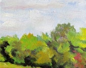 Little Hedgerow, 4 x 6 original landscape oil paintiing