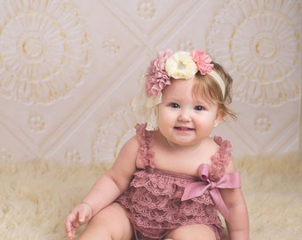 Dusty Pink Petti Lace Romper, Mauve lace baby romper, Baby girl romper