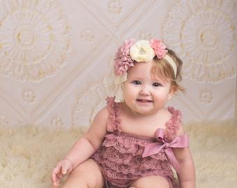 Dusty Pink Petti Lace Romper, Mauve lace baby romper, Baby girl romper