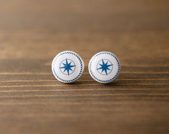 Nautical earrings, wind rose, minimalist, blue and white, stud earrings