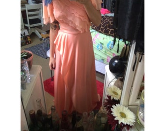 vintage peach bridesmaid dress