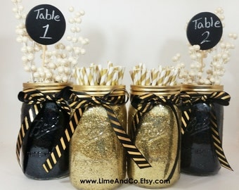Good Graduation Party Decorations, Black And Gold Decor, Anniversary Party,  Wedding, Mason Jar