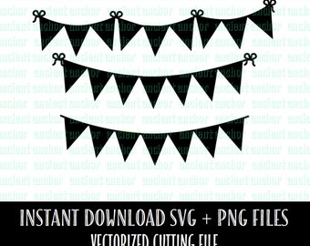 SVG File Commercial Use OK Bunting Banner SVG Files Bundle - Rolling Pin and Mixing Bowl - Instant Download of Vector Files