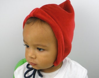 Red Pixie Hat: MADE TO ORDER in sizes Newborn to 2T - Holiday Hat, Elf hat, Baby Boy Hat, Baby Girl Hat, Toddler Hat, Red riding hood