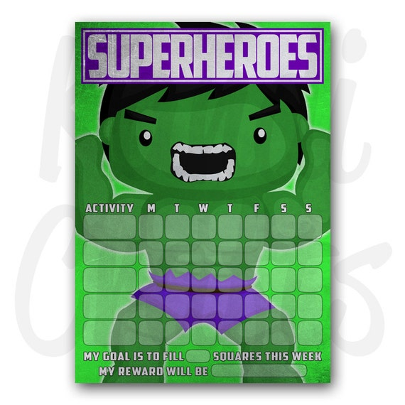 superhero hulk magnetic childrens reward by kandicraftsstore