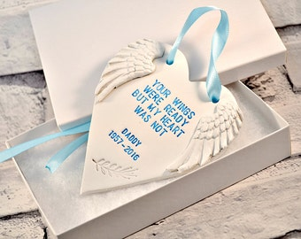 Personalised memorial ornament, Remembrance, condolence gift in loving memory, Loved one in heaven, Your wings were ready, Bereavement gift