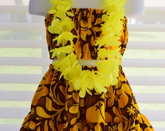 Girls Hula Hawaiian Dress Outfit; Yellow on Dark Brown, with Yellow Silk Lei. Handmade in Hawaii.