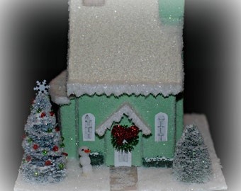Glitter House, Handmade Green Glitter House, Christmas Village House, Putz Style House, Christmas Village Paper House, Christmas Decoration