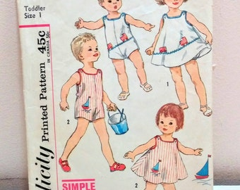 1970's Toddler playsuit pattern size 1 vintage sewing pattern