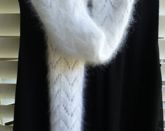 French Angora Lace Design Scarf or Shawl - White and Off White/Ivory