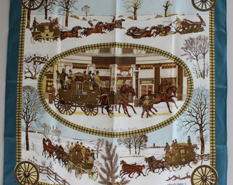 HERMES Scarf  with box L' Hiver en Poste by Ledoux