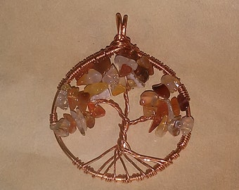 Carnelian and Reclaimed Copper Tree of Life pendant