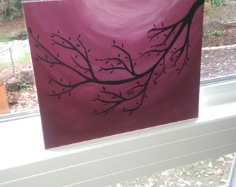 8x10 Tree Branch Acrylic Painting on Canvas