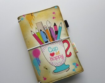 Fauxdori Traveler's Notebook Fabric Cover - Cup of Happy