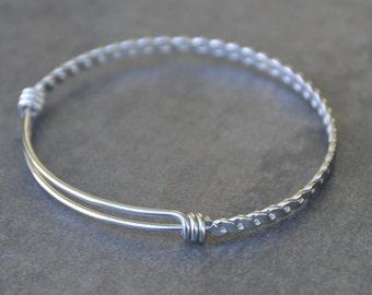 Twisted Expandable Bangle Bracelet - Braided Bangle Bracelet - Stainless Steel Twisted Bangle - Adjustable Bangle - Stainless Steel Bangle