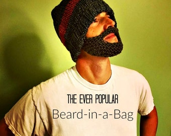 Knit beard, handknit beard, fake beard, face mask beard, runner's mask, beard in a bag, funny knit gift, funny gift, novelty gift, knit gift