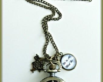 Alice in Wonderland pocket watch necklace, Antique bronze pocket watch necklace, Alice in Wonderland rabbit watch necklace