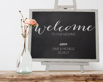 Wooden Chalkboard Welcome Sign with Easel for Wedding, Rustic Welcome Sign, Wooden Welcome Sign - 18x24