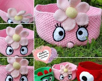 Pink Flower Monster Storage Basket, Made-to-Order Crochet