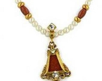 Goldstone Pearl Pendant on Pearl Necklace - Elizabethan Renaissance