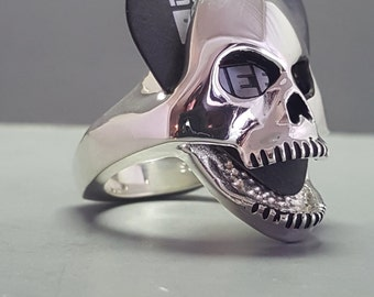 Sterling Silver Guitar Pick Holder Skull Ring