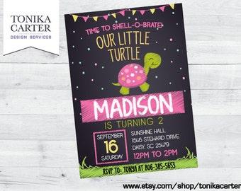 Pink Turtle Birthday Party Invitation (girl)