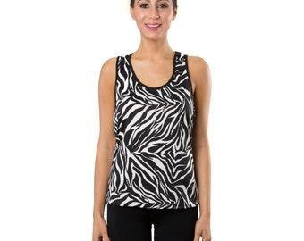 Workout Fashion Women's Black/White Zebra Tank Top