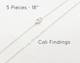 "5pc- 18"" Sterling Silver Chain Finished, Finished Necklace, Flat Cable Chain, 1.3mm, 5 Pieces, Silver Chain, Bulk Chain, 18 inch [4125]"