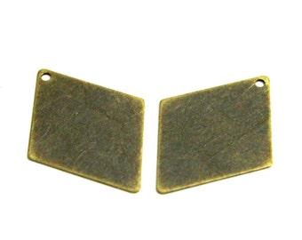 20 pcs 24x33 mm Diamond Brass One Hole Antique Bronze Color