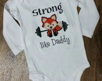 Strong Like Daddy fox weights shirt onesie bodysuit embroidered applique boy baby girl toddler
