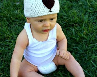 Teddy bear beanie: Handmade, crocheted teddy bear beanie/skull cap for babies in cream