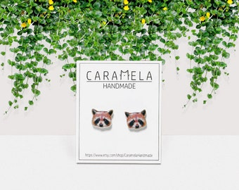 Raccoon Stud Earrings Raccoon Earrings Raccoon Face Animal Earrings Raccoon Jewelry Gift Idea