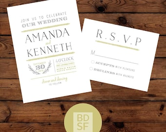 Printable Wedding Invitations // Natural Modern Design // Chose Wording and Colors // DIY Printable Wedding Invites // Fully Customizable