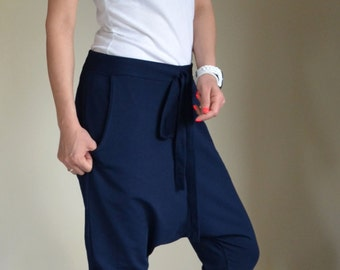 Navy Drop Crotch Capri Summer Loose Sport Harem Pant with Pockets