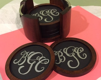 Hand painted chalkboard monograms wooden coaster with holder