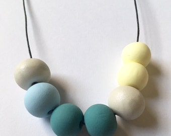 Handmade Teal Polymer Clay Bead Necklace