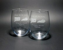 Set of Two Best Friends Stemless Wine Glasses - Long Distance Friend Gift - Best Friend Gift - Long Distance Stemless Wine Glass