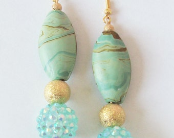 light turquoise, mint green and gold, pendant earrings