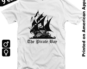 The Pirate Bay American Apparel T-shirt S-XXL Torrent Download P2P Geek Internet File Sharing
