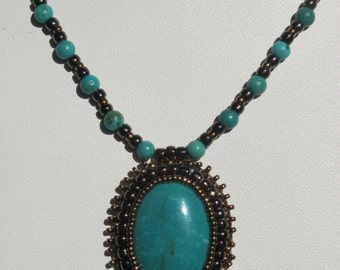30mm Turquoise Beaded Cabochon Necklace