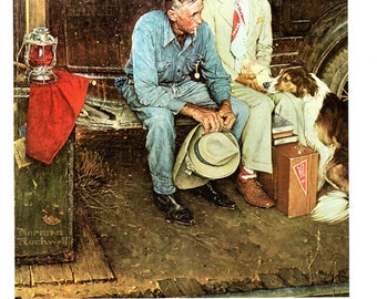 Breaking Home Ties father and son say good-be as heads to College painted by Norman Rockwell.