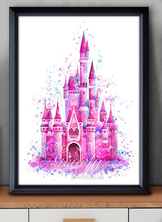 Disney cinderella castle watercolor poster print wall decor for Cinderella castle wall mural
