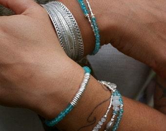 Apatite, Rainbow Moonstone + Thai Hill Tribe Silver Three Strand Beaded Bracelet
