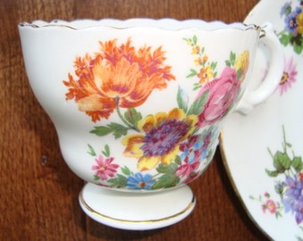 Cauldon - Bone China Made in England - Vintage Tea Cup and Saucer - Multifloral on Scalloped Cup