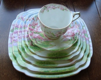 Blossom Time - 7 Piece - Royal Albert Bone China England - Scenic - Trees with Pink Apple Blossoms -Starter/Replacement Pieces
