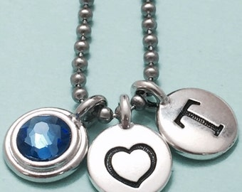 Heart necklace, heart charm, love necklace, personalized necklace, initial necklace, initial charm, monogram