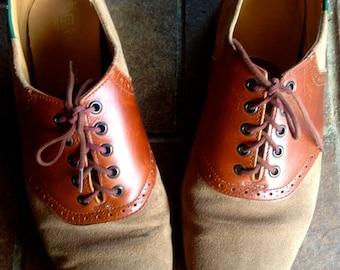 Vintage 1970s Suede Brogues//Oxford saddle shoes//mens 9.5//70s
