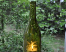 SPRING SALE!!! Hanging Amber Etched Wine Bottle Candle Holder with Votive and Seashell Beach Theme