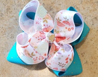 Floral double stack bow